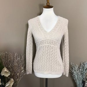 Loft Beige Crochet Long Sleeve V-Neck Sweater